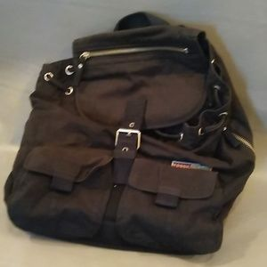 Fossil black cloth backpack purse